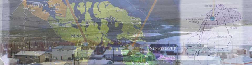 Arctic collage including map of Nunavut
