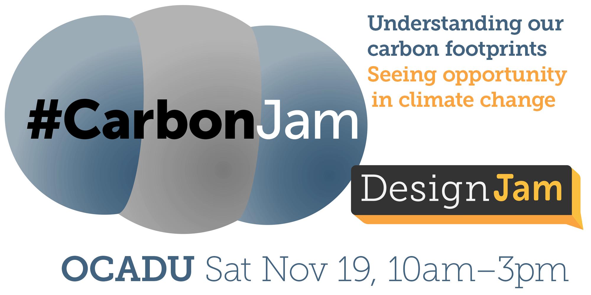 CarbonJam logo, DesignJam logo, date, time