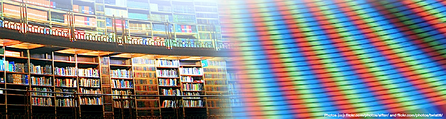 Collage with bookshelves & optical disc