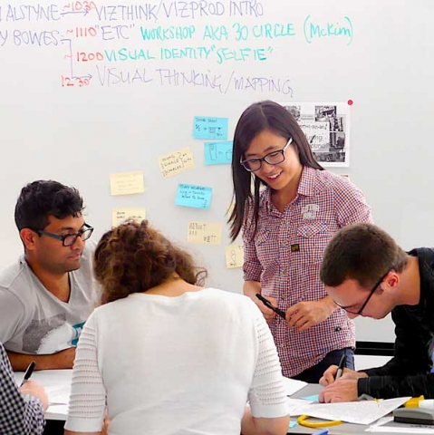 Young designers in a visual thinking workshop at OCAD University