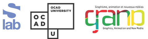 logos for sLab, OCAD University, NCE-GRAND